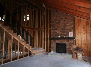 Home remodeling interior fireplace before