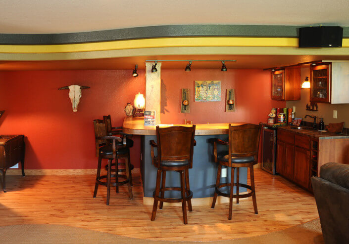 southwest themed lower level bar after