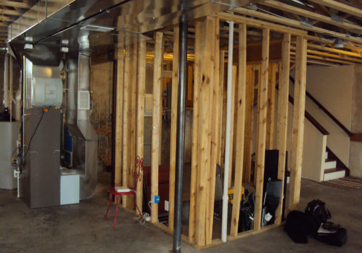 lower level framing ready for drywall
