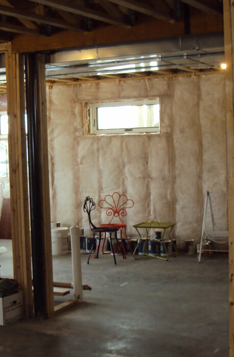unfinished basement with insulation