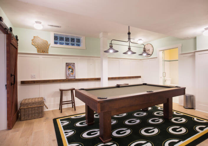 Basement remodeling Wisconsin Packers theme