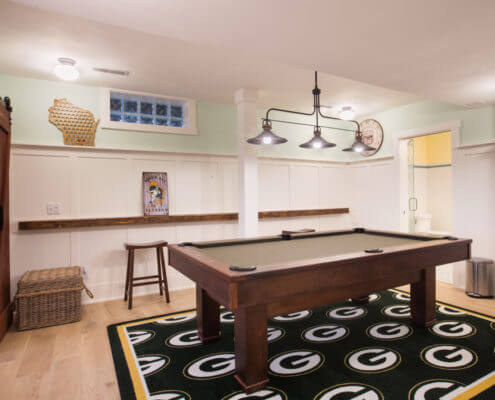 Green Bay Packers themed basement remodel