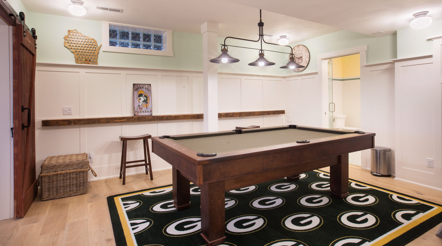 Packers themed basement remodel madison wi