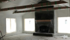 fireplace stone and completed wood timber mantel
