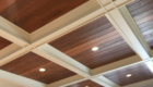 coffered ceiling dark stain with white trim