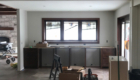 dining area built in dark stained cabinets