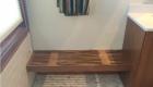 wood shower bench installed