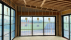 black trim patio doors installed
